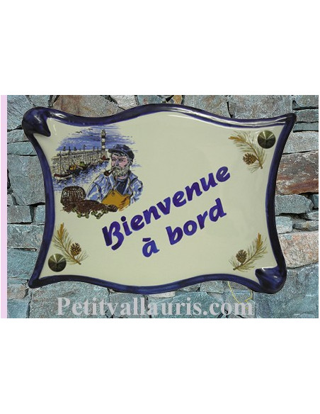Plaque de maison parchemin en céramique le Patron Breton
