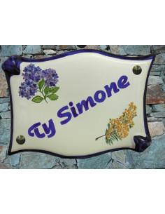 Plaque de maison en céramique décor personnalisé Hortensia et Mimosas
