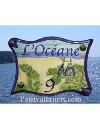 Plaque de maison en céramique décor personnalisé Océan Atlantique