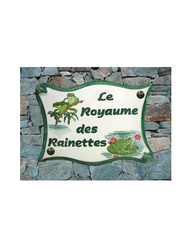 Plaque de maison en céramique décor personnalisé Grenouille Rainette