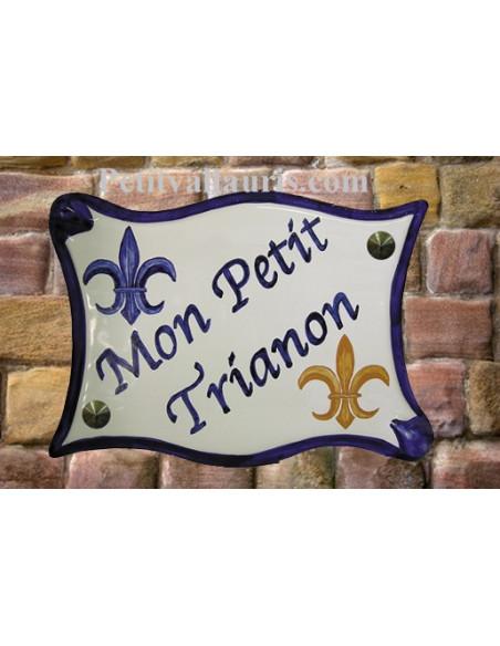 Grande Plaque modèle parchemin pour maison motif artisanal Fleur de Lys de France avec votre personnalisation