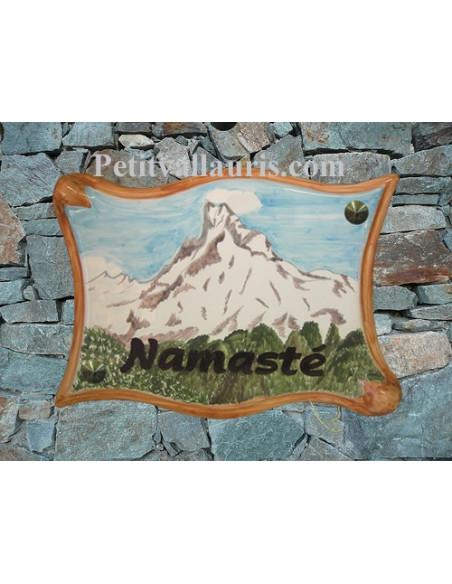 Grande Plaque modèle parchemin pour maison décor artisanal chaine de l'Himalaya + personnalisation