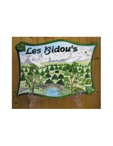 Plaque pour maison parchemin en céramique décor Pyrénées