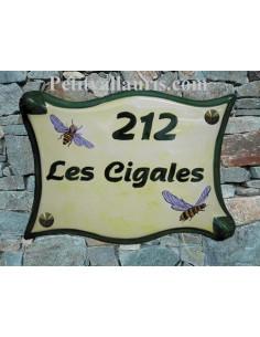 Plaque pour maison parchemin en céramique décor Cigales du Sud