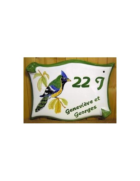 Grande Plaque modèle parchemin pour maison décor artisanal oiseau Geai + personnalisation