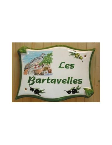 Plaque pour maison parchemin en céramique décor Bartavelles
