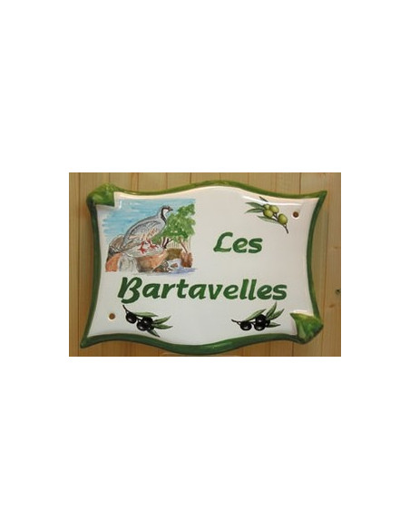 Grande Plaque modèle parchemin pour maison décor artisanal les Bartavelles avec personnalisation