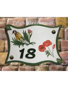 Plaque pour maison parchemin en céramique décor Chardonneret