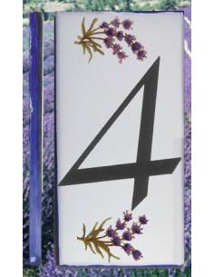 Numero de rue chiffre 4 décor brins de lavande