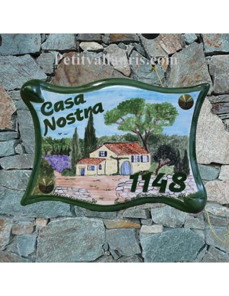 Grande Plaque modèle parchemin pour maison décor artisanal Bastide Provençale + inscription personnalisée