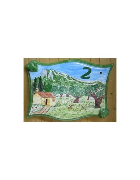 Grande Plaque modèle parchemin pour maison décor artisanal mont Coudon face-est + personnalisation