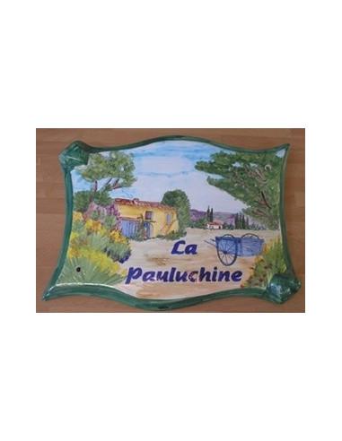 Plaque parchemin pour propriété décor personnalisé Mas et Charette