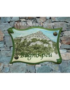 Grande Plaque modèle parchemin pour maison décor artisanal mont Coudon face-sud + personnalisation