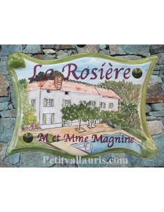Plaque pour villa parchemin décor personnalisé Batisse