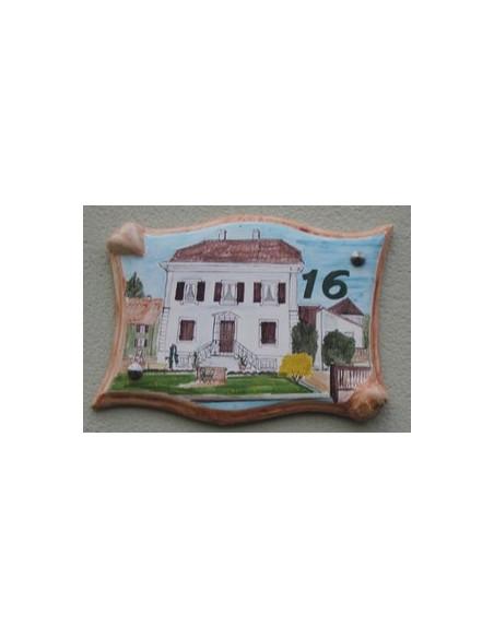 Plaque pour villa grand modèle parchemin décor artisanal Maison Alsacienne + personnalisation
