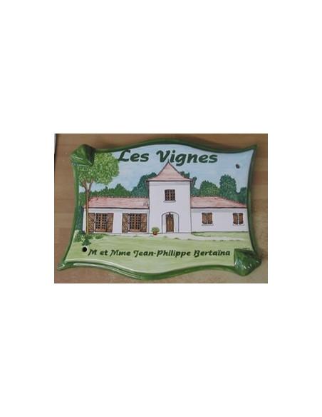 Plaque pour villa grand modèle parchemin décor artisanal maison de Bourgogne + personnalisation