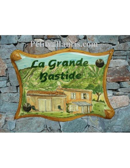 Plaque pour villa grand modèle parchemin décor artisanal maison val de Durance + personnalisation