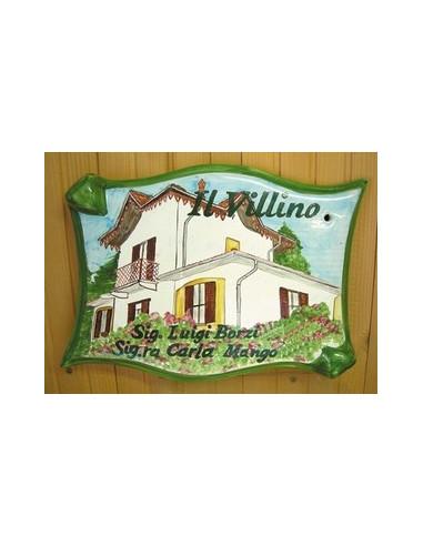 Plaque pour maison parchemin décor personnalisé Villa Lombardie