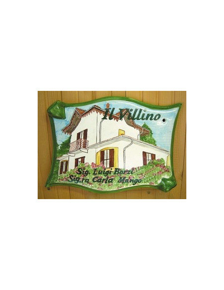 Plaque pour villa grand modèle parchemin décor artisanal Villa de Lombardie + personnalisation