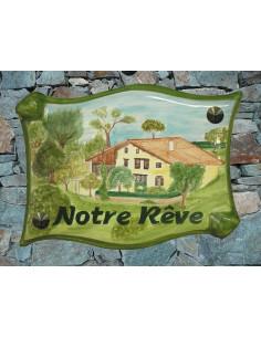 Plaque pour villa parchemin décor personnalisé Notre Rêve