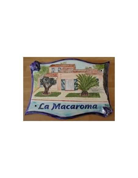 Plaque pour villa grand modèle parchemin décor artisanal d'après photo Villa de Particulier avec personnalisation