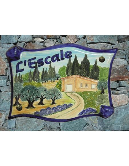 Plaque pour villa grand modèle parchemin décor artisanal maison de client avec environnement provençal