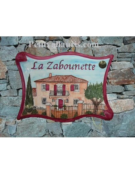 Plaque pour villa grand modèle parchemin décor artisanal d'une Villa traditionnelle du Var