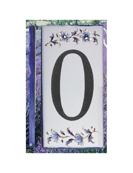 Numero de rue à coller en faience chiffre 0 motif fleurs tradition bleu