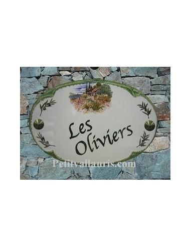 Plaque pour maison ovale en céramique décor Mas et Oliviers