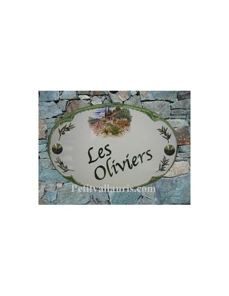 Plaque en céramique pour maison de forme ovale décor décor Mas et Oliviers + personnalisation