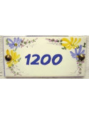 Plaque de maison rectangulaire Fleur jaune et bleue texte 1200