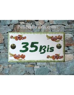 Plaque de maison faience émaillée décor chataignes inscription personnalisée verte
