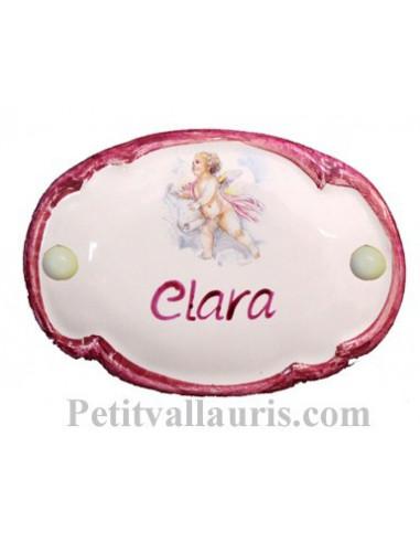 Plaque de porte Mon petit ange fille personnalisé