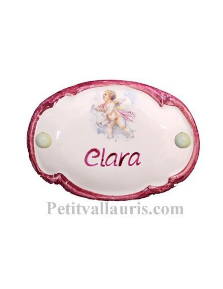 Plaque de porte en faience émaillée blanche modèle ovale motif petit ange fille+ personnalisation