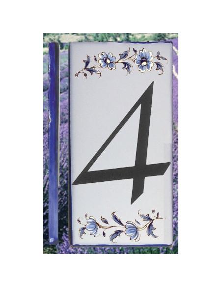Numero de rue à coller en faience chiffre 4 motif fleurs tradition bleu