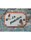 Plaque de Maison rectangle décor et texte personnalisés champignon morilles inscription verte et bord ocre