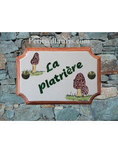 Plaque en céramique aux angles incurvés motif artisanal champignon morilles + inscription personnalisée