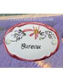 """Plaque de porte Ovale fleurs rose """"Bureau"""""""