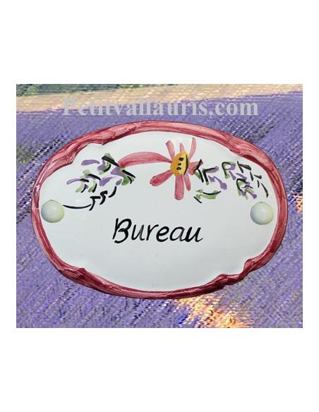 Plaque de porte modèle ovale décor tradition fleurs roses avec inscription Bureau