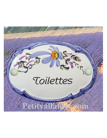 Plaque de porte modèle ovale décor tradition fleurs bleues avec inscription Toilettes