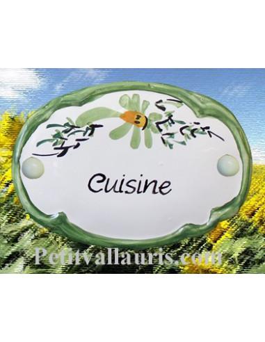 """Plaque de porte Ovale fleur verte """"Cuisine"""""""