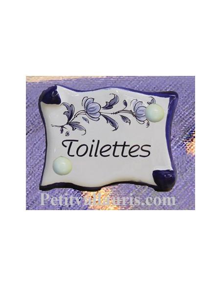 Plaque de porte modèle parchemin décor tradition fleurs bleues avec inscription Toilettes