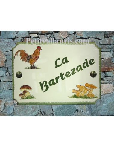 Plaque pour maison de style décor Coq et Champignon