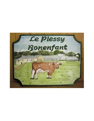Plaque pour maison de style décor Ferme et Vache