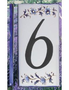 Numero de rue chiffre 6 décor tradition vieux moustiers bleu
