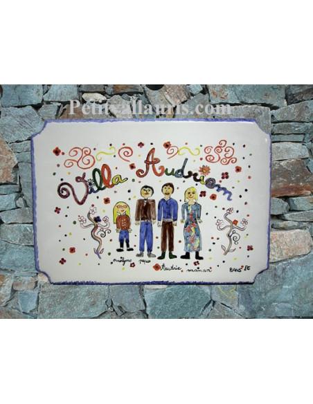 Grande plaque de villa en faience émaillée décor artisanal d'après dessin d'un enfant