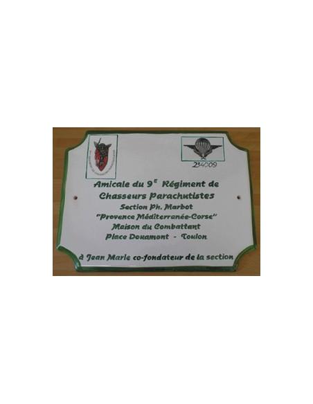 Grande plaque en faience émaillée reproduction artisanale Ecusson Militaire et inscription personnalisée