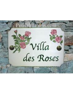 Plaque de maison émaillée de style en céramique décor Rose