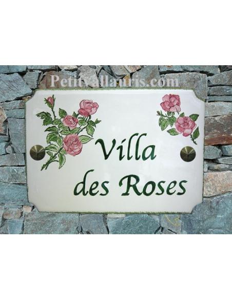 Grande plaque de maison en céramique modèle aux angles incurvés motif artisanal Rose et rosiers + personnalisation