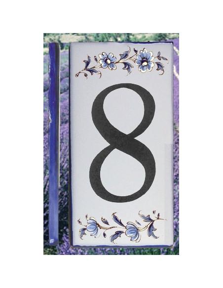 Numero de rue à coller en faience chiffre 8 motif fleurs tradition bleu